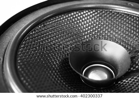 Part of black old car audio speaker, black and white effect - stock photo