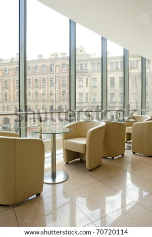 part of cafe in shopping mall - stock photo