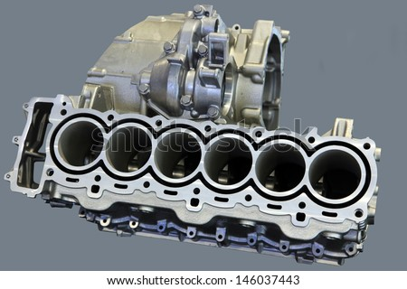 Part of car engine with the transmission in a rugged aluminum enclosure - stock photo