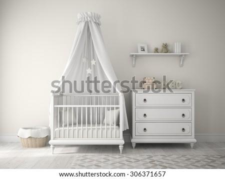 Part of classic children room 3D rendering  - stock photo