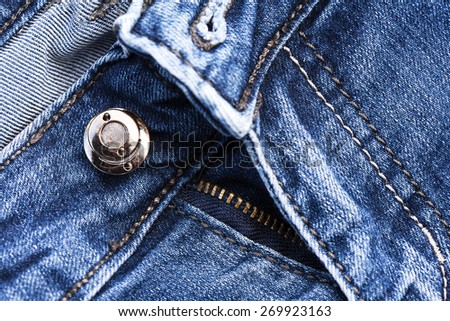 Part of classic jeans with button and zipper - stock photo