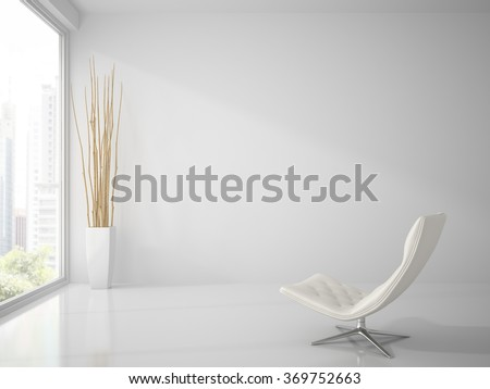 Part of  clean white interior with white armchair 3D rendering  - stock photo