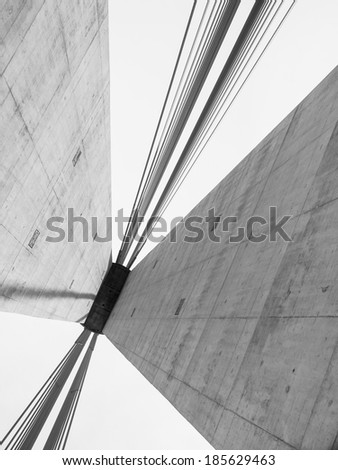 Part of construction of new Belgrade biggest bridge with one tower and pilon in the world / river Sava, Serbia / under construction / one pylon / Big suspension bridge in beams - stock photo