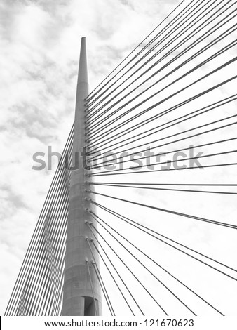 Part of construction of new Belgrade biggest bridge with one tower ( pilon) in the world / river Sava, Serbia / under construction / one pylon / - stock photo