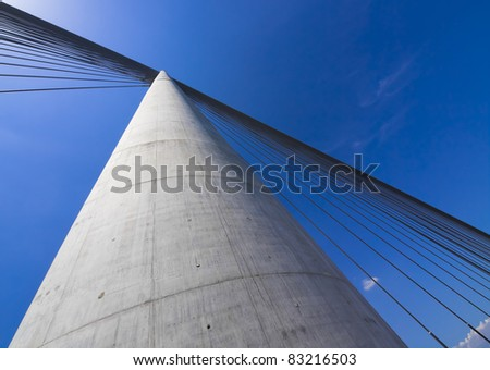 Part of construction of new Belgrade biggest bridge with one tower ( pilon)  in the world / river Sava, Serbia / under construction / one pylon / wide angle lens - stock photo