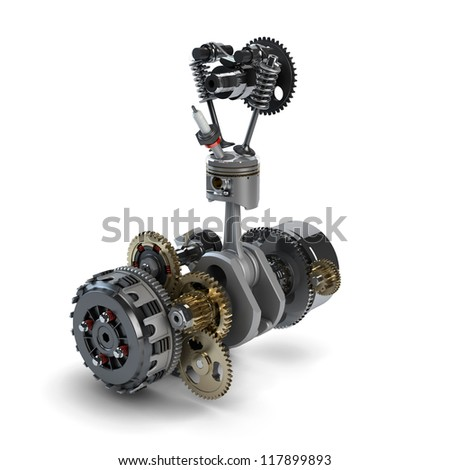 Part of disassembled engine showing piston, cylinder, crankshaft and gearbox on white - stock photo