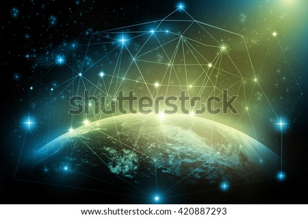 Part of earth with network line and point on the star and dark background, Internet Network concept, Elements of this image furnished by NASA - stock photo