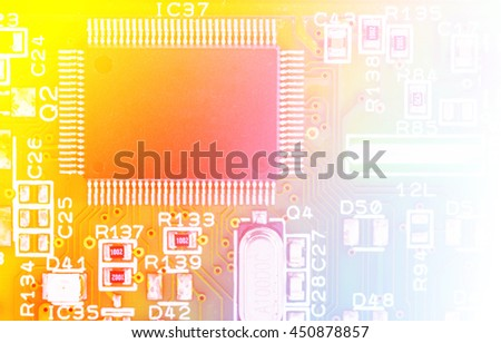 part of electronic circuit with color filters - stock photo
