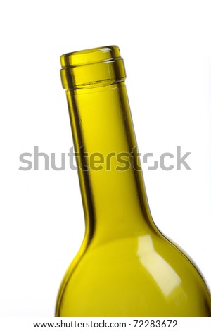 part of empty green wine bottle isolated over white - stock photo