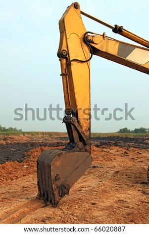 part of Excavator Loader with backhoe - stock photo