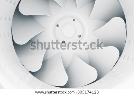 part of fan blades of modern ventilation system - stock photo