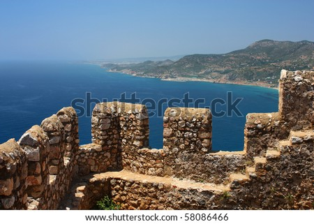 Part of fortress wall before Mediterranean sea in Alanya Turkey - stock photo