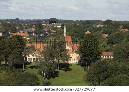 Part of Fredericia skyline form above - View from Little Belt Bridge. - stock photo