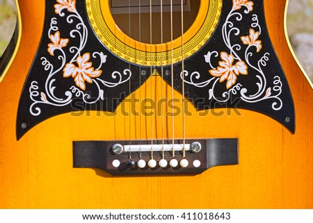 Part of guitar, background - stock photo