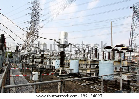 Part of high-voltage substation with switches and disconnectors - stock photo