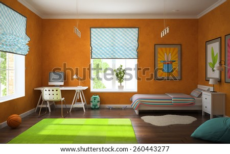 Part of interior modern child room with orange walls 3d - stock photo