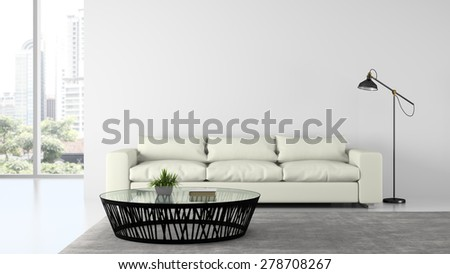 Part of Interior modern design room with sofa and lamp 3D rendering  - stock photo
