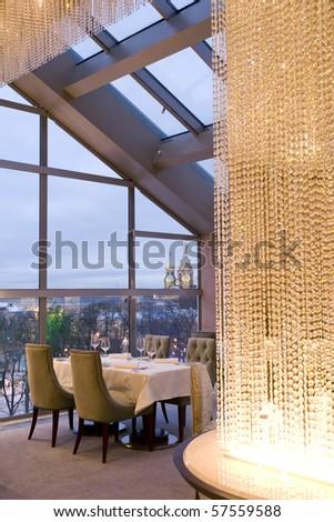 part of interior of restaurant - stock photo