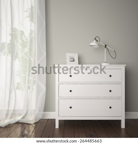 Part of interior with bureau 3D - stock photo