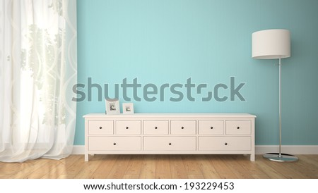 Part of interior with cabinet and lamp 3D - stock photo