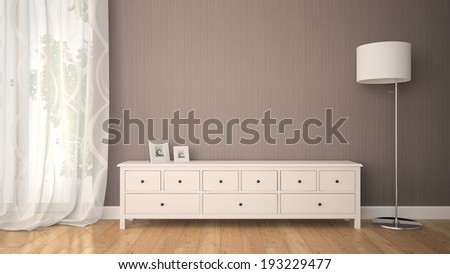 Part of interior with cabinet 3D - stock photo