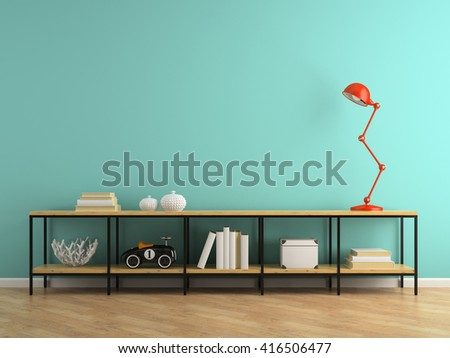 Part of interior with console and red lamp 3D rendering  - stock photo