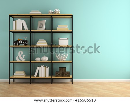 Part of interior with shelves 3D rendering  - stock photo