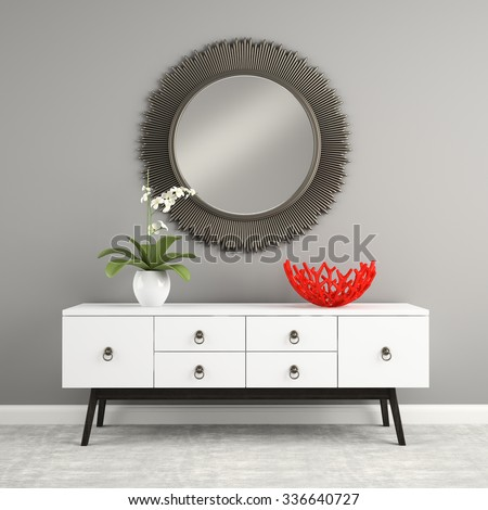 Part of  interior with stylish console 3D rendering - stock photo