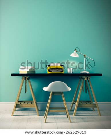 Part of interior with typewriter on the table 3D rendering - stock photo