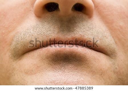 Part of man face closeup - stock photo