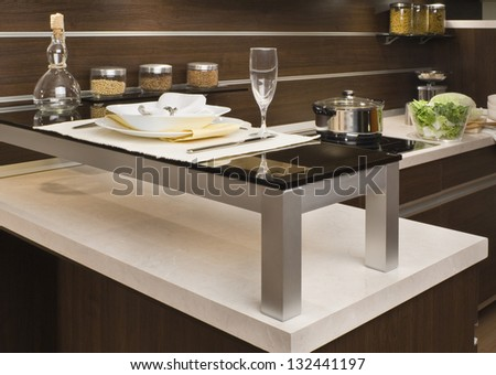 part of modern kitchen with food - stock photo