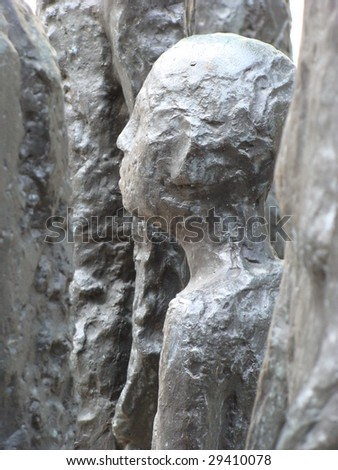 Part of monument commemorating Jewish tragedy during Holocaust, Berlin. - stock photo