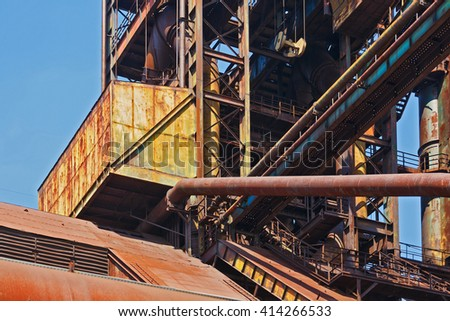 part of old fabric of Vitkovice Ostrava - stock photo