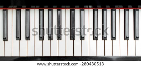 Part of piano keys. Top view. - stock photo