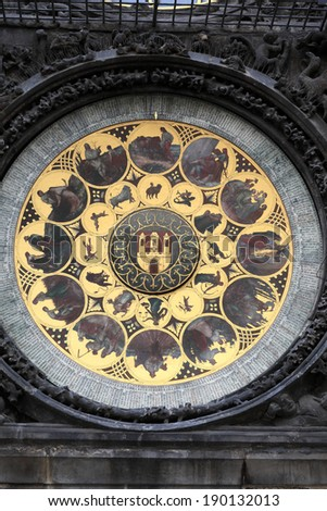 Part of prague astronomical clock in czech republic - stock photo