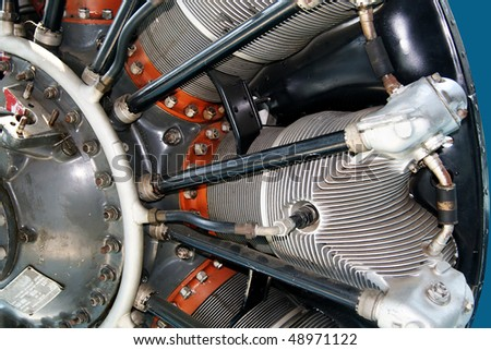 Part of radial engine of an airplane - stock photo