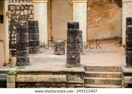 part of ruins Vijaynagara Fort Tanjore ancient monument Nayak King `Vijay Raghav` Madurai, Tamil Nadu, India - stock photo