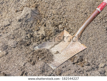 Part of shovel and mulch, close up. Metal blade, wood shaft painted red. Focus on shovel. Horizontal photo.  - stock photo