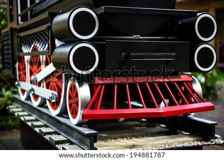 Part of steam locomotive close-up - stock photo