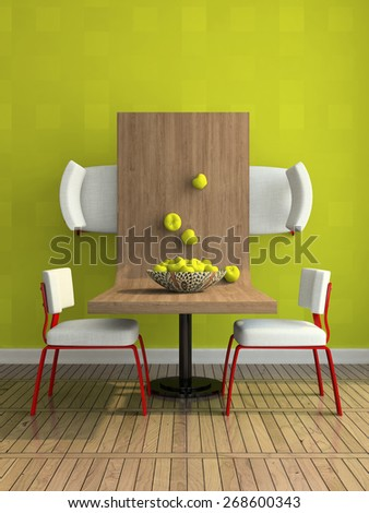 Part of the abstract dining-room illustration 3D rendering - stock photo