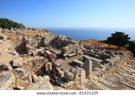 Part of the Ancient Thira ruins at the peak of Mesa Vouna Mountain, located at Santorini Island, Greece. - stock photo