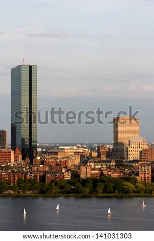 Part of the Boston Back Bay skyline with the landmark John Hancock tower. - stock photo