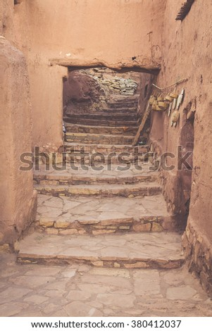 Part of the Castle of Ait Benhaddou, a fortified city, the former caravan way from Sahara to Marrakech. UNESCO World Heritage, Morocco - stock photo