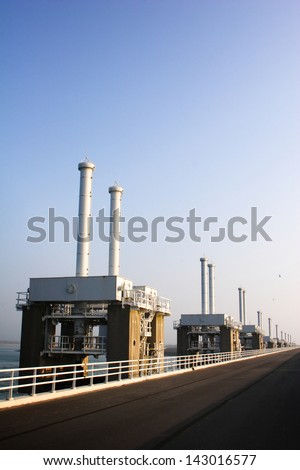 Part of the Delta Works water protection dam at Oosterschelde, Holland. - stock photo