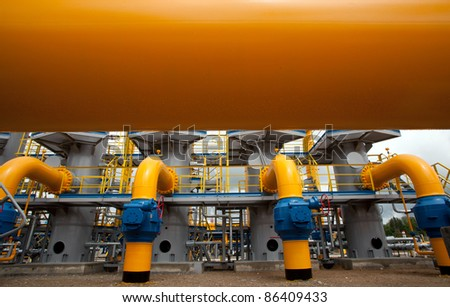 Part of the equipment of modern compressor station - stock photo