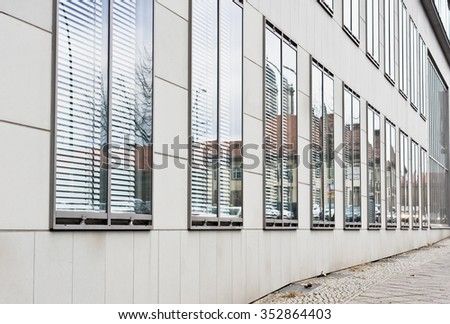 Part of the exterior of a modern office building in Berlin, Germany - stock photo