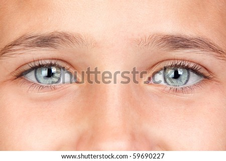 Part of the face of a pretty girl with blue eyes - stock photo