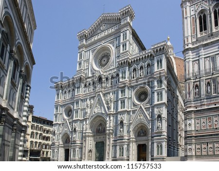 part of the Florence Cathedral in Florence (Italy) - stock photo