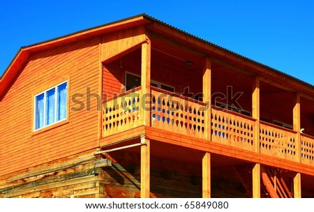 Part of the log cabin - stock photo