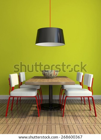 Part of the modern dining-room with green wall illustration 3D rendering - stock photo